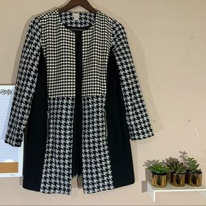 Chicos Long Jacket Coat Open Front Houndstooth